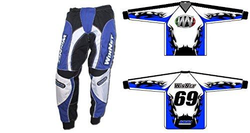 WinNet Completino maglia maglietta + pantalone bimbo e bambino per moto da cross mini quad bmx blu