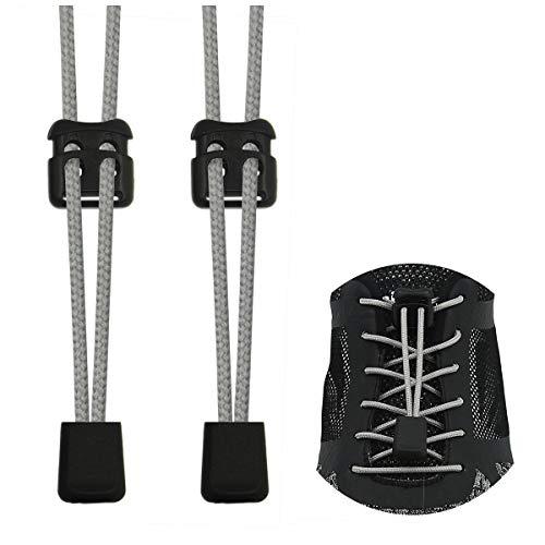 Riemot Elastische Schnürsenkel mit Schnellverschluss Schnellschnürsystem Schuhband für Schuhe Ohne Binden für Sportschuhe Wanderschuhe Arbeitsschuhe Hellgrau