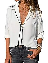 Chemisier Chic Femme, Chemise Mousseline de Soie Col V Élégant Mode Manche  Longue Fluid Blouse b4841d7646e9