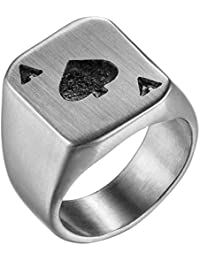 f778e48c640029 Flongo Anello di Fidanzamento da Uomo Donna, Asso di Picche Grande Anello di  Poker,