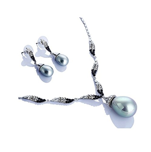 """Vintage Gioielli, """"Divine Set di gioielli con perle e cristalli. Set di Orecchini e Pendente Con Perla A Goccia, unico. Collana con cristalli Swarovski e zirconi su catena piccolo, 2opzioni di colore, Bianco e nero, colore: Gold/Silver, cod. jsBLK10205"""