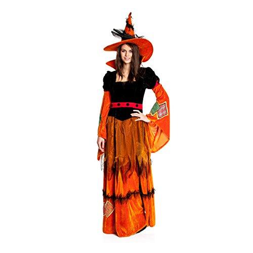 Kostümplanet® Hexen-Kostüm Damen + Hexen-Hut Hexe orange Größe (Orange Hut Hexe)