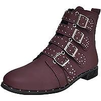 LILICAT☃ Multi-botón de Gamuza de Cabeza Redonda de Color sólido con Botas Martin Zapatos de Mujer Botines Cortos con Tobillo Botines Martin de Gamuza Botas con Cremallera