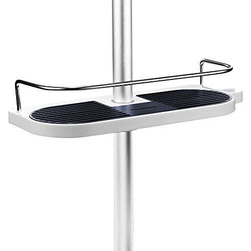 Merisny Duschstangen Ablage Badezimmer Dusche Rack verstellbar Höhe kein Bohren Bad Aufbewahrung Halter für Shampoo, Conditioner, Seife, Weiß und schwarz -