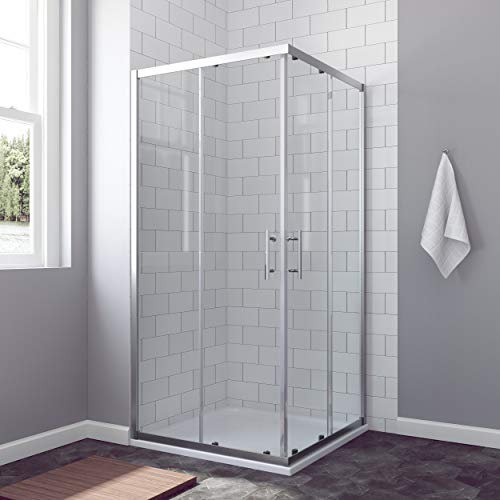 AQUABATOS® 90 x 90 cm Duschkabine Eckeinstieg Schiebetür Duschabtrennung Duschwand Glas ESG nach DIN EN 12150 Höhe 185cm