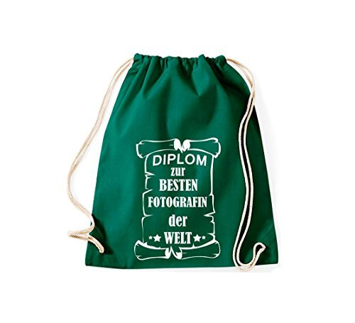 Shirtstown Borse palestra Diploma per migliore Fotografin mondo - blu, 37 cm x 46 cm verde