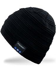 Rotibox Bluetooth Beanie Hat Rechargeable Fashional Cap Short avec écouteurs sans fil Headsets écouteur microphone mains libres pour les sports de plein air de patinage de randonnée Camping Ski Snowboard, cadeau de Noël - Noir