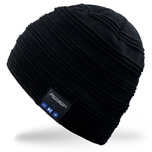 Rotibox Cappello Beanie Bluetooth, Cappellino Trendy Knit Short Trendy con Auricolare Bluetooth Headphone Auricolare Audio Music Hands-free chiamata telefonica per Outdoor Sport Fitness Ginnastica Workout Regalo di Natale - Nero