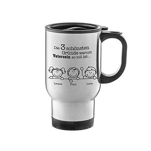 AMAVEL - Thermobecher aus Edelstahl mit Aufdruck - Gute Gründe fürs Vatersein - Personalisiert mit Namen - Thermotasse mit Deckel und Henkel - Vatertagsgeschenke - Geschenke für Männer
