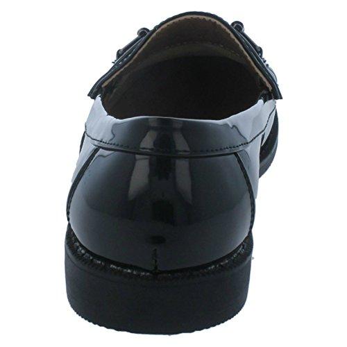 Mesdames Spot sur Flâneur Chaussures/bordure en métal Vamp/antidérapant sur noir verni