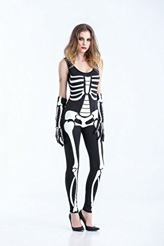 CHEN Halloween Cosplay Schädel Performance Kleider Fancy Long Skeleton Kleid Erwachsene Karnevalsparty Kostüm für Frauen, Black