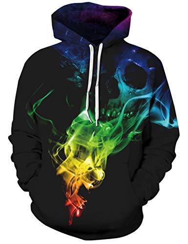 Goodstoworld Bunt Skull Rauch 3D Druck Hoodie Kapuzenpullover Herren Damen Unisex Langarm Pullover Sweatshirt Kapuze Top Jungen
