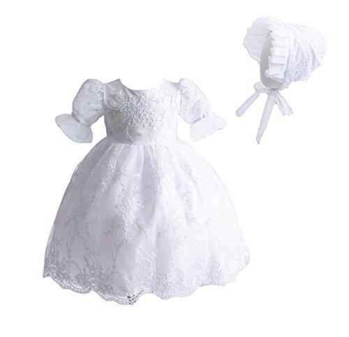 Cinda Baby Spitze Taufkleid Taufe Kleid und Mütze Weiß 62-68