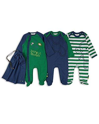 Baby Jungen Affe Schlafanzug/Einteiler/Strampler (3-er Pack mit Beutel) - Blau/Grün - 50/56cm - ESS217 (Grüner Strampler)