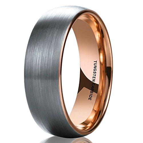 8mm Wolframcarbid Ringe Gebürstet Trauringe Verlobungsringe (6mm(Wolframcarbid)-Rosegold, 66 (21.0)) ()