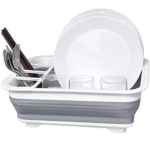 YLIK Dish Wäschetrockner - faltbar Dish Drainer mit Schalen- Kleine Folding Abtropfbrett - Plastikschale Wschetrockner - Perfekt für Küche, Reise-Anhänger