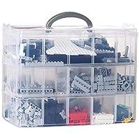 starter Caja de Almacenamiento - Caja de Almacenamiento Desmontable de 30 Rejillas Caja de Almacenamiento de plástico de Tres Capas portátil para Accesorios de Juguete Lego Caja de Almacenamiento