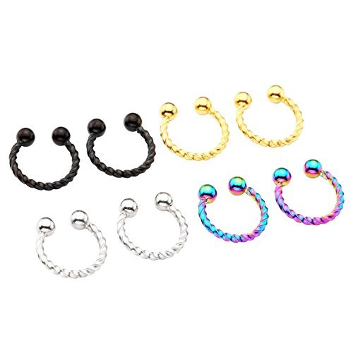 JSDDE Piercing Schmuck,Fake Nasenpiercing Nasenring Ölgebäck Clip No Piercing Septum Ring Fake Hoop Ring,8mm/10mm (8er set 10mm)