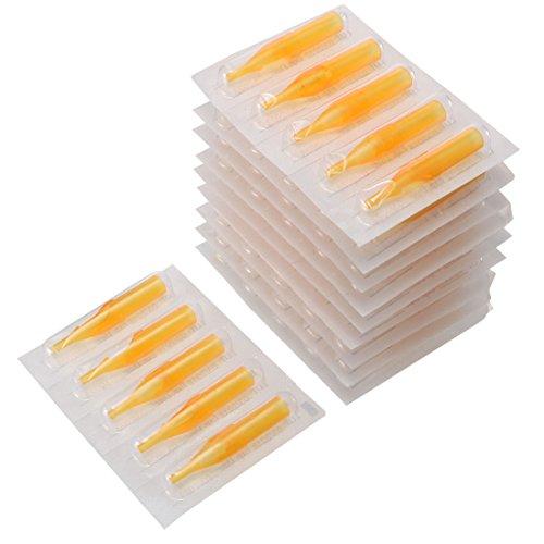50pcs Disposable Plastique Tatouage Pointe Clôture Bouche Jaune pour Tatouage Machine 13RT 48mm Long