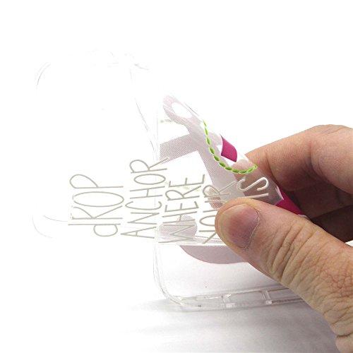 iPhone 6 Custodia, iPhone 6S Cover Silicone, iPhone 6S Case, Felfy Rosa Amore Cuore Ancore Stile TPU Trasparente Chiaro UltraSlim Sottile Silicone Gel Protettiva Copertura Tacsa Caso Case Cover per Ap Amore Cuore Ancore