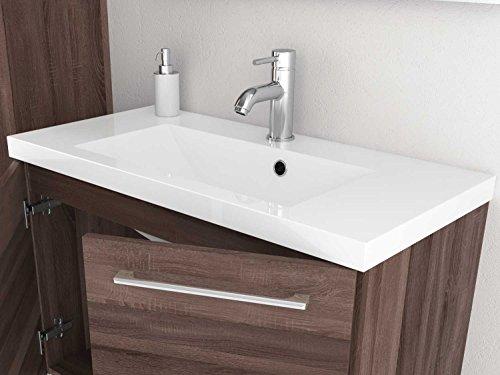 Waschtischunterschrank 50 / 80 cm breit Eiche Trüffel und Weiß Waschbeckenunterschrank Unterschrank Badmöbel-Set hängend Sieper Elva (Eiche Trüffel, 80) - 3