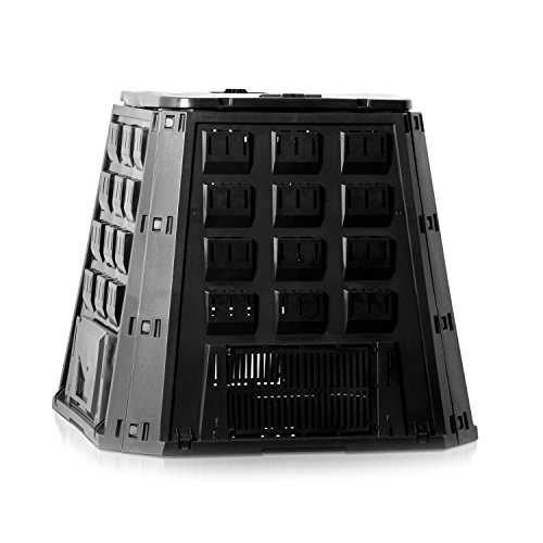 térmica bio 400L compostador–Compostador Negro Plástico Jardín Residuos compostables