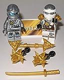Lego Ninjago Figuren 2X Ninja Zane Weisser Ninja und Grau Silberner Ninja und Waffen und bmg2000 Aufkleber