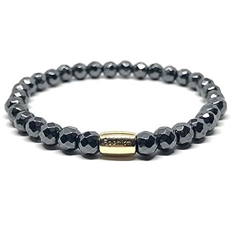 GOOD.designs Chakra-Bracelet en pierre de Hématite semi-précieuse perles de 6mm.