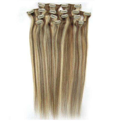 100% cheveux remy Lot de 8 38,1 cm Brun/Blond (# 12/613) cheveux raides à clipser pour extension de cheveux Poids : 100 g