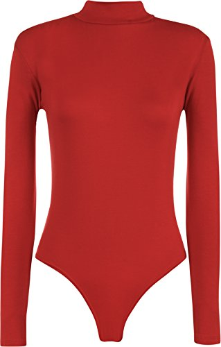 WearAll - Damen Rollkragen Bodysuit Langarm Elastisch Gymnastikanzug Top - Rot - 36-38 -