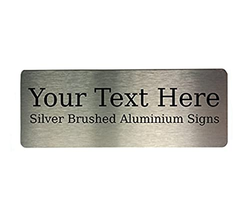 Custom Personalised Your Text Metal Aluminium Sign Door Plaque House Office Name (Silver)