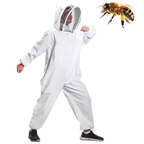 Greenbang Tuta da apicoltore, Tuta apribile super spessa Tuta da recinzione pieghevole da velo Tuta protettiva da ape Smock con cerniera frontale (L(165-175CM))