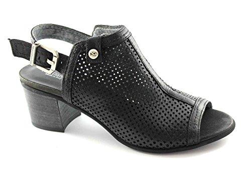 BLACK GARDENS 15661 Schwarze Frauen Schuhe Ledersandalen Fersenriemen Nero