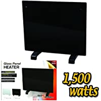 Electric Panel Heater Radiator Glass Black Portable Free Standing Wall Mounted (1500w)