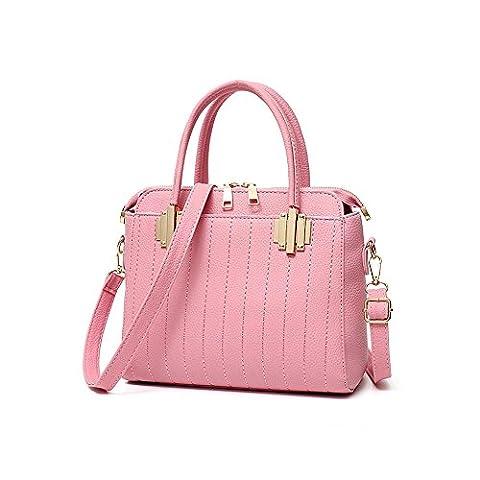 Emotionlin Women's Ladies Tote Bags Fashion Designer Metal Detail Colour Block Shoulder Handbags(Pink)