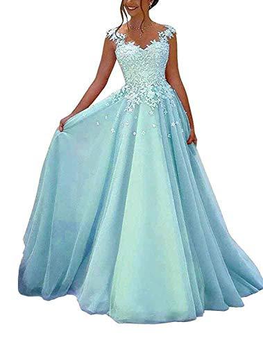NUOJIA Damen Prinzessin Ballkleider Lange mit Appliques Party Kleid Blau 48