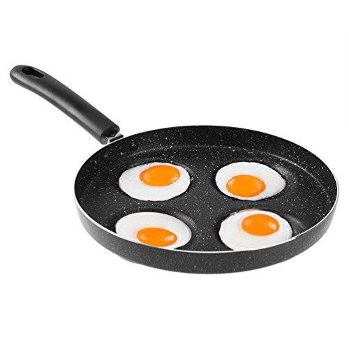 Uarter - Sartén para huevos (aleación de aluminio, 4 cavidades), color negro