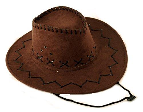 Scherzwelt Dunkelbrauner Western Cowboy Kinderhut - Westernhut Western Hut für Kinder