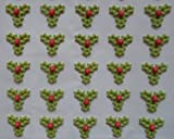 30 Green Sugar Mini Triple Holly & Berry Christmas Cake, Cupcake, Mince Pie Decorations