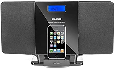 Elbe HIFI-1024-IP - Micro cadena con CD / MP3, USB, iPhone / iPod Docking, color negro