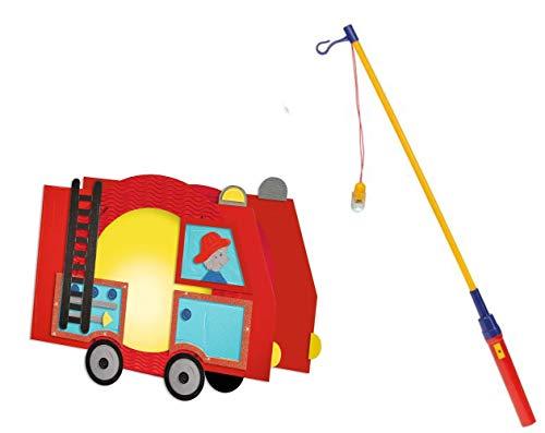 feuerwehrauto laterne Conipa Laternen Bastelset mit zusätzlichem Laternenstab elektrisch (Feuerwehr)
