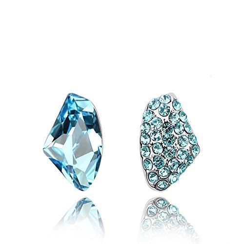 Y & x925 argento sterling stallone orecchini magistralmente con brillanti acquamarina cristallo blu orecchini(blu)