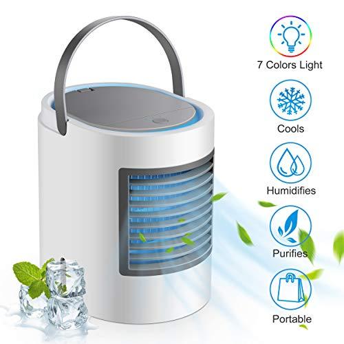 Mobile Klimageräte Cooler Luftkühler Tischklimaanlage Ventilator mit USB Anschluß mit einstellbar buntes Licht, Tragbare Klimaanlage für Büro Garage und Haus, Auslaufsicher, Neues Filterpapier (Weiß)