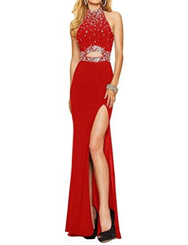 Royaldress Wunderschoen Chiffon Pailletten steine Abendkleider Partykleider Formal Damen Tanzenkleider Lang Rot