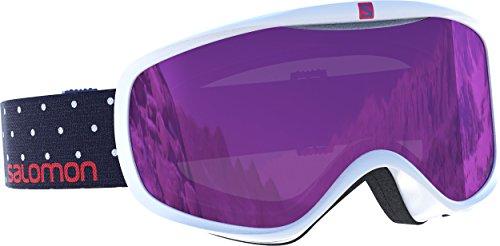 Salomon, maschera da sci da donna, per portatrici di occhiali, tempo variabile, visiera viola multistrato (intercambiabile), sistema airflow, sense, bianco/a pois, l39078200