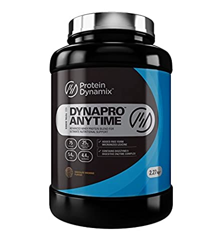 Protein Dynamix DynaPro Anytime 100% quality whey protein powder shake drink mix 75 servings (Chocolate Brownie, 2.27kg)