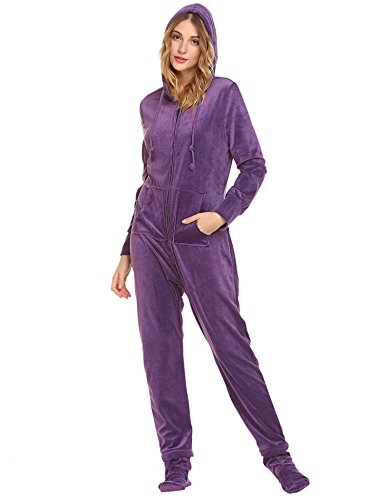 UNibelle Damen Jumpsuit Einteiliger Overall Pyjama Strampler für Erwachsene mit Füssen Ganzkörper Schlafanzug Schlafoverall Helles Lila