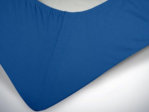 npluseins klassisches Jersey Spannbetttuch - erhältlich in 34 modernen Farben und 6 verschiedenen Größen - 100% Baumwolle, 90-100 x 200 cm, royalblau - 6