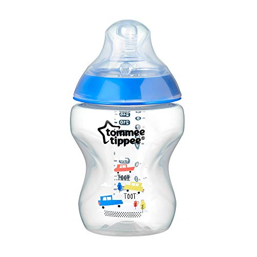 Tommee Tippee 42250175 Closer To Nature Biberon Decorato, 260 ml, Blu, 1 Pezzo