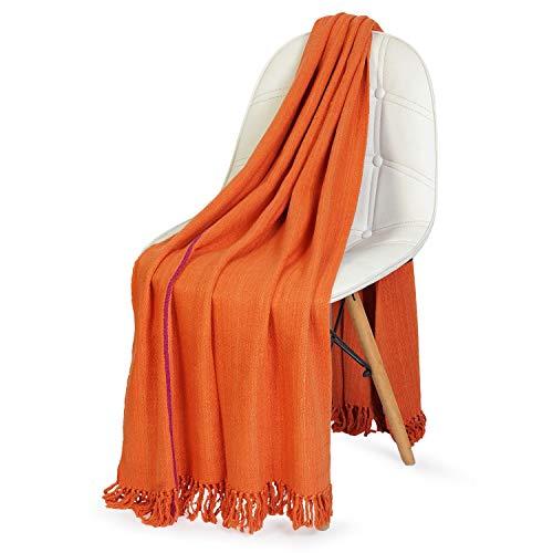 NEERU KUMAR Twill Throw Blanket 100% Silk Soft and Stylish Luxurious 50X70 inch - Orange (Blanket 50 70 X Throw)